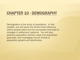 Chapter 10 - Demography