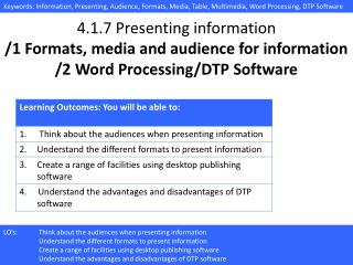 4.1.7 Presenting information /1 Formats, media and audience for information /2 Word Processing/DTP Software