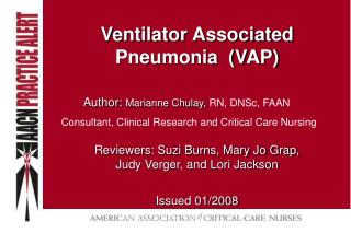 ventilator associated pneumonia  vap