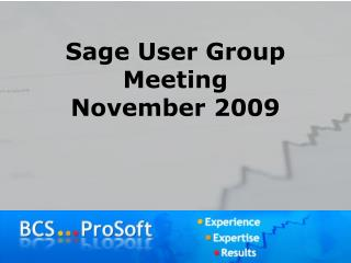 Sage User Group Meeting November 2009
