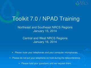 Toolkit 7.0 / NPAD Training