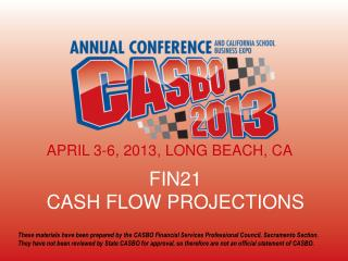 FIN21 CASH  FLOW PROJECTIONS