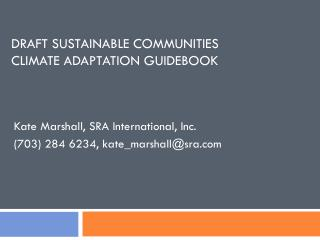 Draft Sustainable Communities  Climate Adaptation Guidebook
