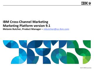 IBM Cross-Channel Marketing Marketing Platform version 9.1 Melanie Butcher, Product Manager –  mbutcher@us.ibm.com