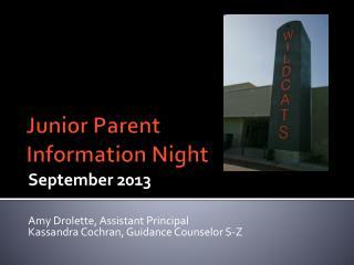 Junior Parent Information  Night