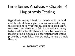 Time Series Analysis – Chapter 4 Hypothesis Testing