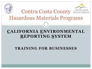 Contra Costa County Hazardous Materials Programs