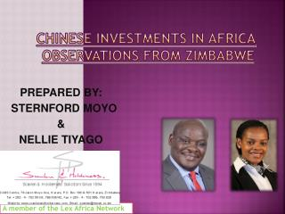 CHINESE INVESTMENTS IN AFRICA OBSERVATIONS  FROM ZIMBABWE