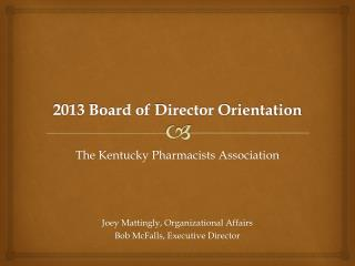 2013 Board of Director Orientation