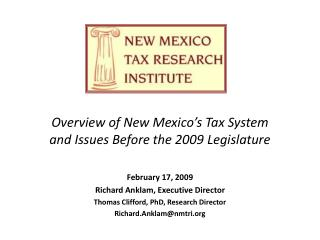 Overview of New Mexico's Tax System and Issues Before the 2009 Legislature