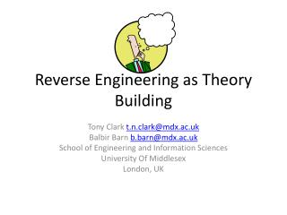 Reverse Engineering as  Theory Building
