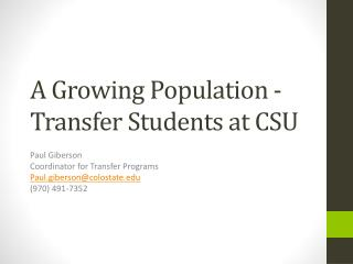 A Growing Population - Transfer Students at CSU