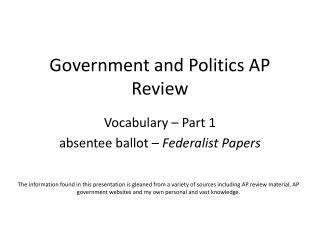 Government and Politics AP Review