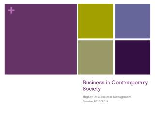 Business in Contemporary Society