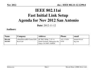 IEEE 802.11ai Fast Initial Link Setup  Agenda for  Nov 2012 San Antonio