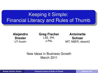 Keeping it Simple: Financial Literacy and Rules of Thumb