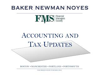 Accounting  and  Tax Updates