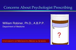 Concerns About Psychologist Prescribing