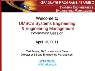 UMBC  Systems Engineering and  Engineering Management  Graduate  Programs