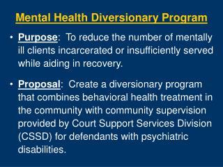 mental health diversionary program