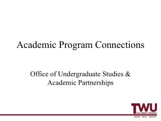 Academic Program Connections