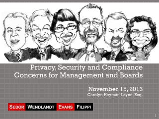 Privacy, Security and Compliance Concerns for Management and Boards November  15,  2013 Carolyn Heyman-Layne, Esq.
