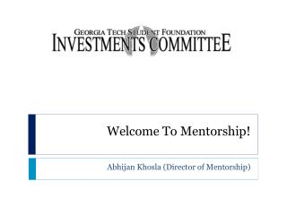 Welcome To Mentorship!