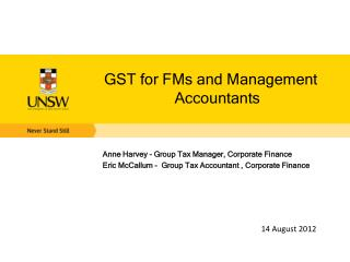 GST for FMs and Management Accountants