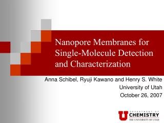 nanopore membranes for single-molecule detection and characterization