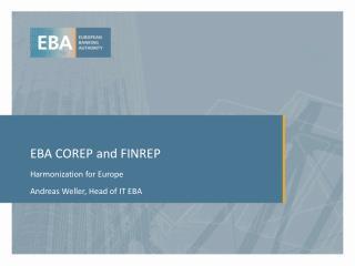 EBA  COREP and FINREP