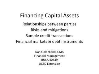 Financing Capital Assets
