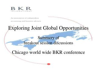 Exploring Joint Global Opportunities Summery of breakout session discussions Chicago world wide  BKR  conference
