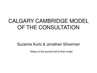 calgary cambridge model of the consultation
