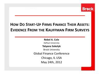 How Do Start-Up Firms Finance Their Assets:  Evidence From the Kauffman Firm Surveys