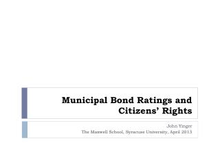 Municipal Bond Ratings and Citizens' Rights