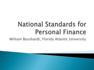 National Standards for  Personal  Finance