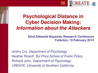 Psychological Distance in  Cyber Decision Making:  Information about the Attackers