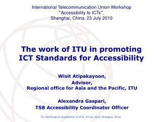 the work of itu in promoting ict standards for accessibility