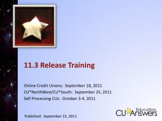 11.3 Release Training