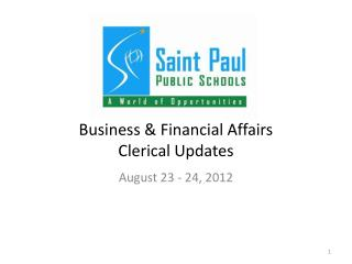Business & Financial Affairs Clerical Updates