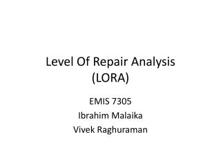 Level Of Repair Analysis (LORA)