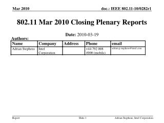 802.11 Mar 2010 Closing Plenary Reports