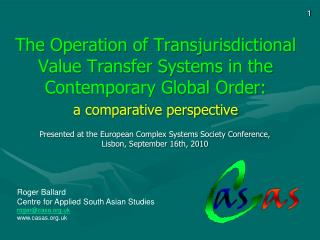 The Operation of Transjurisdictional Value Transfer Systems in the Contemporary Global Order: a comparative perspective