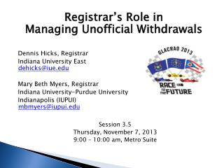 Registrar's Role in Managing Unofficial Withdrawals Dennis Hicks, Registrar	 Indiana University East	 dehicks@iue.edu M