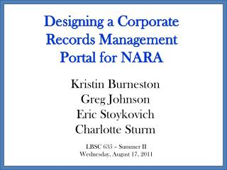 Designing a Corporate Records Management Portal for NARA