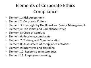 Elements of Corporate Ethics Compliance