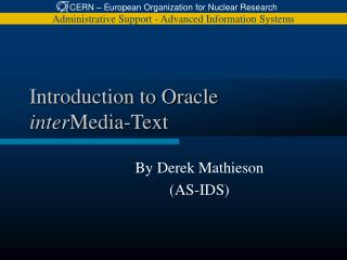 introduction to oracle inter media-text