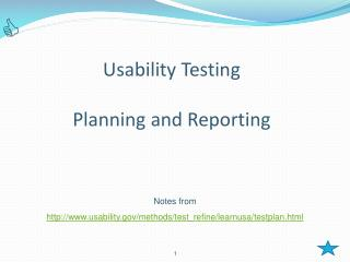 Usability Testing Planning and Reporting