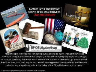 FACTORS IN THE MATRIX THAT SHAPED BP OIL SPILL RECOVERY:  LAWS  AND  LAWSUITS