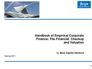 Handbook of Empirical Corporate Finance: The Financial  Checkup and Valuation by Bexa  Capital Advisors